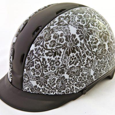 safeways-helmets - 18 horse riding helmet, paardrijhelm, KED Tara, turtle design, schildpad print horse riding helmet, paardrijhelm, KED Tarapraphic lace pattern , grafisch kant print.jpg